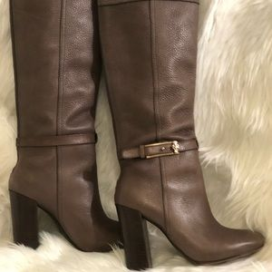 Tory Burch putty peppled leather knee high boots